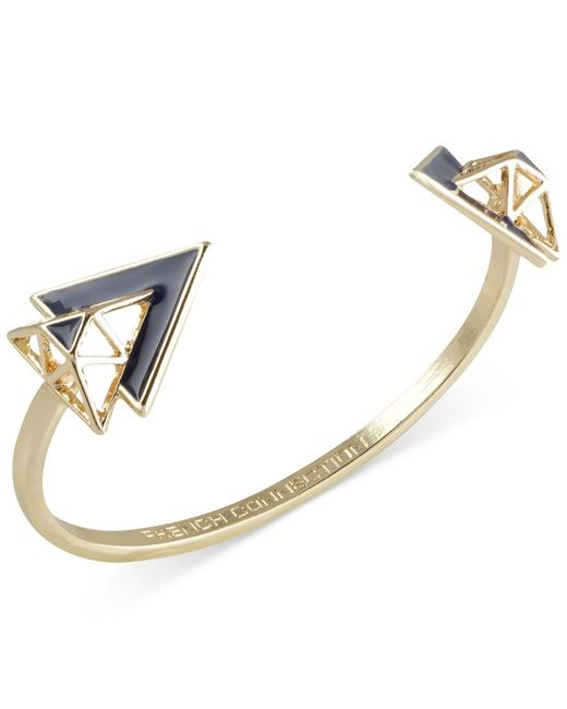 French Connection | Pink Gold-tone Openwork Triangle Cuff Bracelet | Lyst