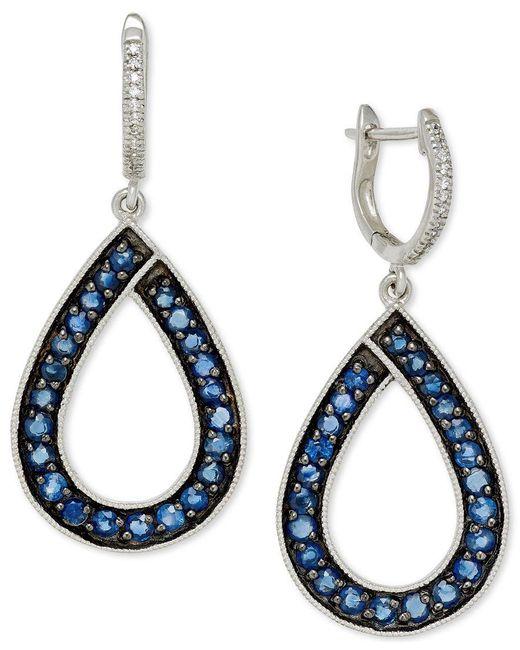 Macy's | Metallic Sapphire (1-9/10 Ct. T.w.) And Diamond (1/10 Ct. T.w.) Teardrop Earrings In 14k White Gold | Lyst