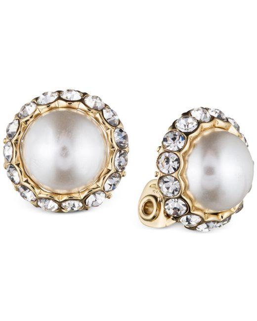 Anne Klein   Metallic Gold-tone Plastic Pearl Button Earrings   Lyst