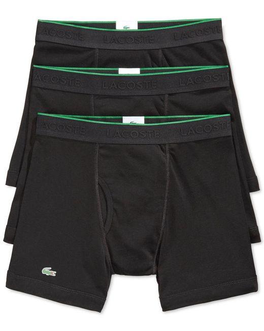 Lacoste   Black Men's Cotton Boxer Briefs 3-pack for Men   Lyst