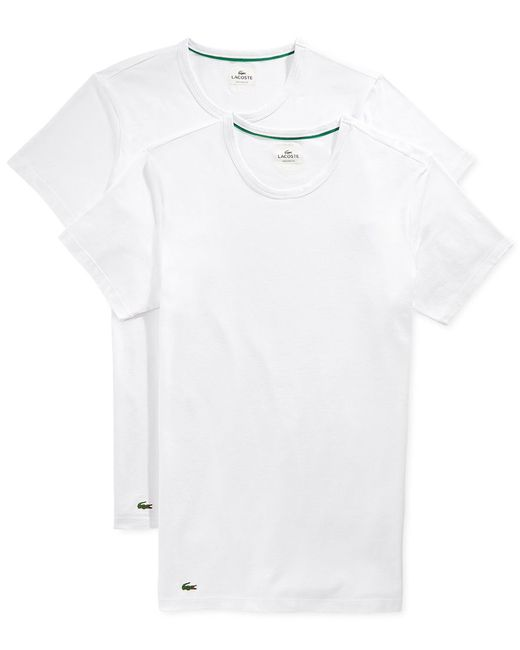 Lacoste | White Two-pack Slim Fit Crewneck Tees for Men | Lyst