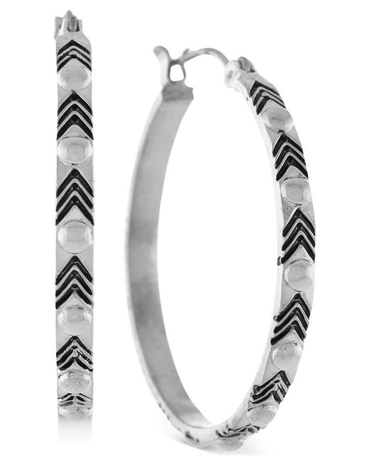 BCBGeneration | Metallic Silver-tone Dome Stud Hoop Earrings | Lyst