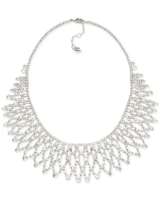 Carolee | Metallic Silver-tone Crystal Bib Frontal Necklace | Lyst