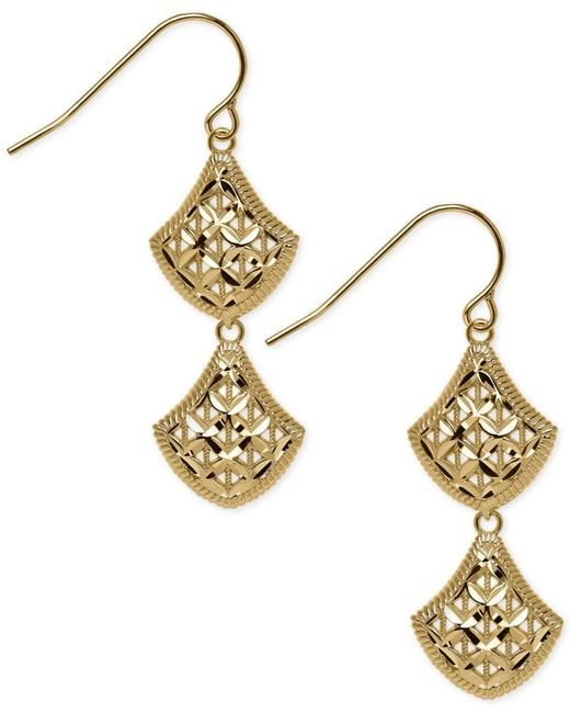 Macy's | Metallic Openwork Mesh Double Drop Earrings In 14k Gold | Lyst