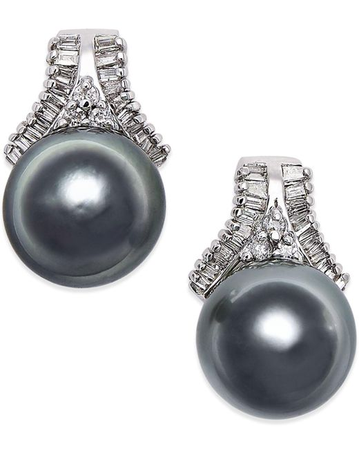 Macy's - Cultured Tahitian Black Pearl (10mm) And Diamond (5/8 Ct. T.w.) Stud Earrings In 14k White Gold - Lyst