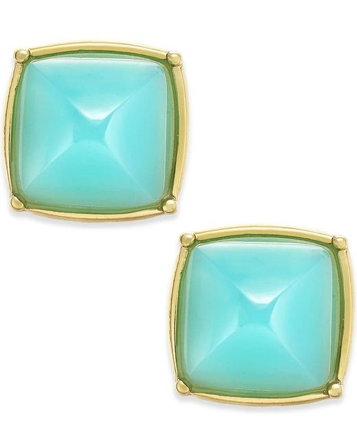 ABS By Allen Schwartz | Blue Gold-tone Rounded Pyramid Stud Earrings | Lyst