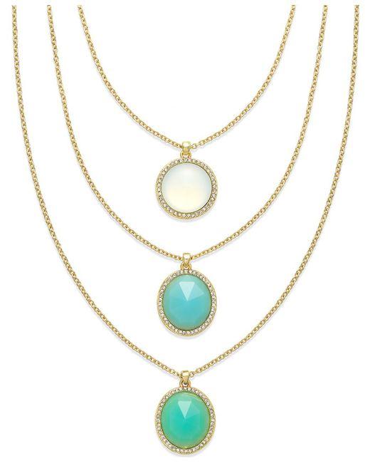 ABS By Allen Schwartz   Blue Gold-tone Round Stone Three Row Necklace   Lyst