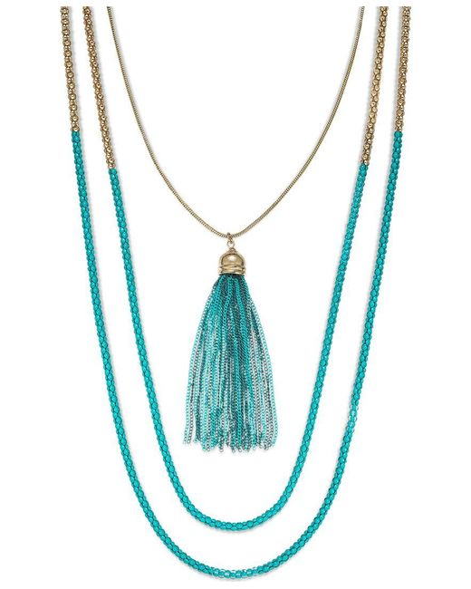 ABS By Allen Schwartz | Gold-tone Blue Popcorn Chain Two Row Necklace | Lyst
