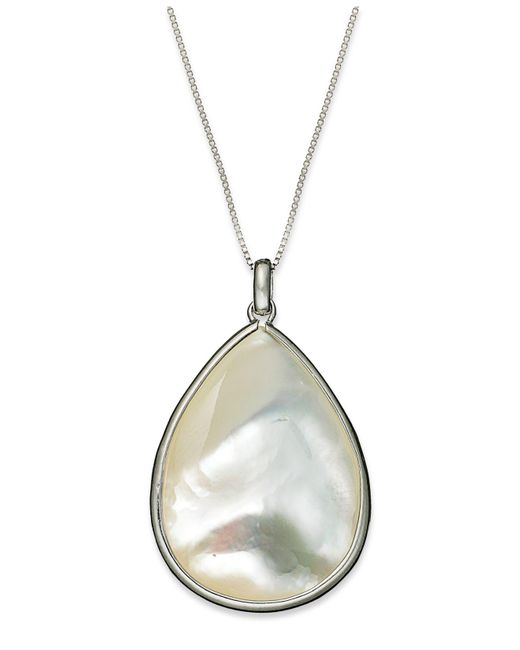 Macy's | Metallic Sterling Silver Necklace, Mother Of Pearl Teardrop Pendant | Lyst