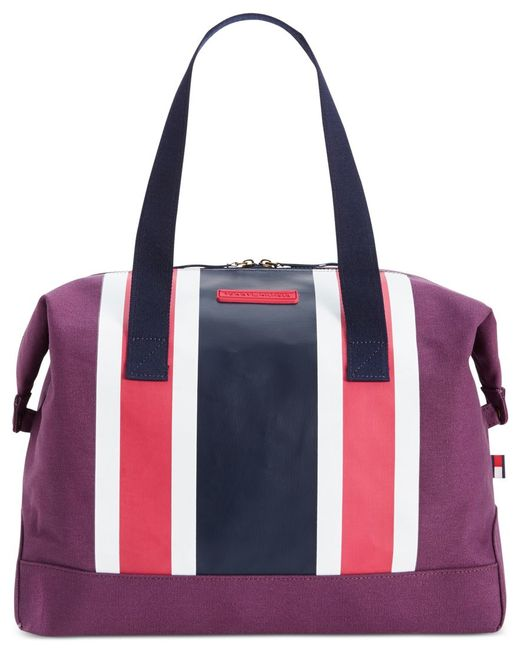 tommy hilfiger th stripes printed canvas large weekender in pink lyst. Black Bedroom Furniture Sets. Home Design Ideas