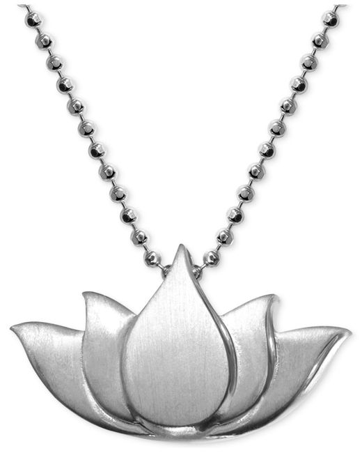 Alex Woo | Metallic Little Faith Lotus Blossom Pendant Necklace In Sterling Silver | Lyst