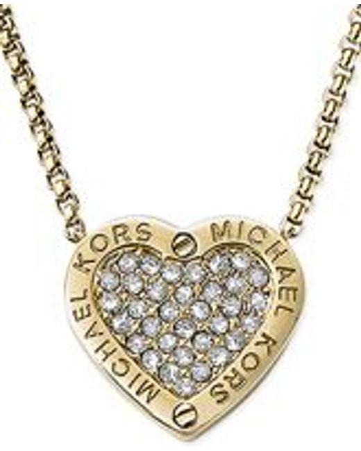Michael Kors | Metallic Crystal Pave Mk Logo Heart Pendant Necklace | Lyst