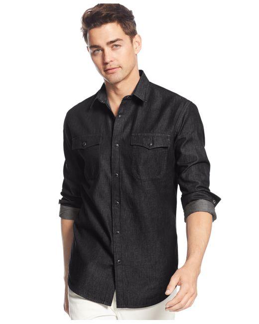 American Rag   Black Men's Denim Shirt for Men   Lyst