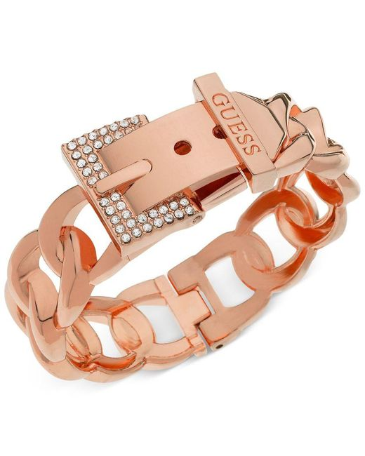 Guess | Pink Rose Gold-tone Crystal Buckle Hinge Bangle Bracelet | Lyst