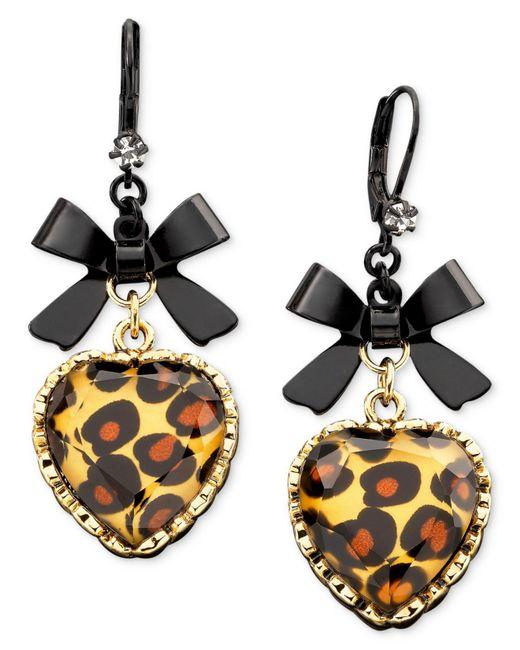 Betsey Johnson | Multicolor Leopard Heart Bow Drop Earrings | Lyst