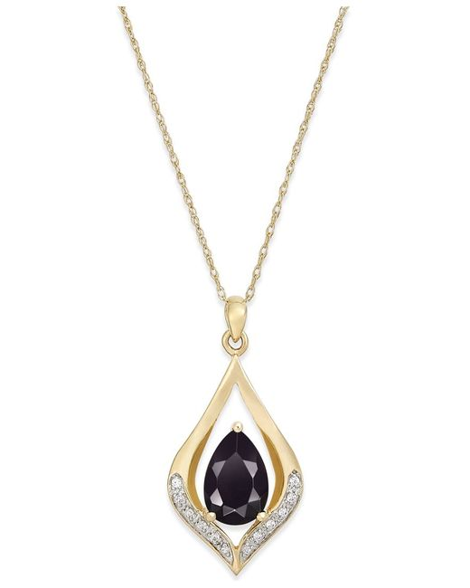 Macy's   Black Onyx (1-1/10 Ct. T.w.) And Diamond Accent Pendant Necklace In 14k Gold   Lyst