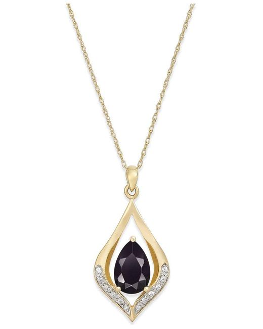 Macy's   Metallic Onyx (1-1/10 Ct. T.w.) And Diamond Accent Pendant Necklace In 14k Gold   Lyst