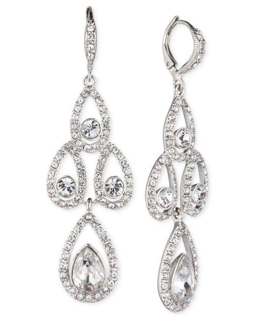 Givenchy | Metallic Silver-tone Crystal Pear Open Chandelier Earrings | Lyst