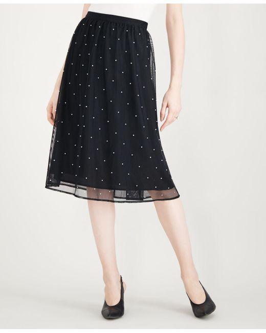 Maison Jules - Black Tulle Imitation-pearl Skirt, Created For Macy's - Lyst
