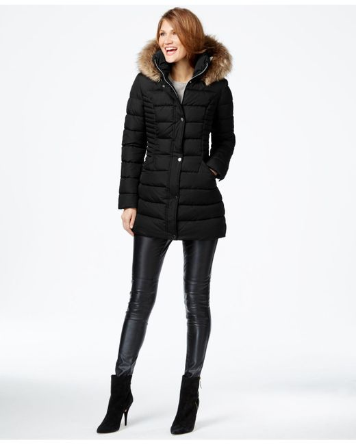 INC International Concepts | Black Faux-fur-trim Quilted Puffer Coat | Lyst
