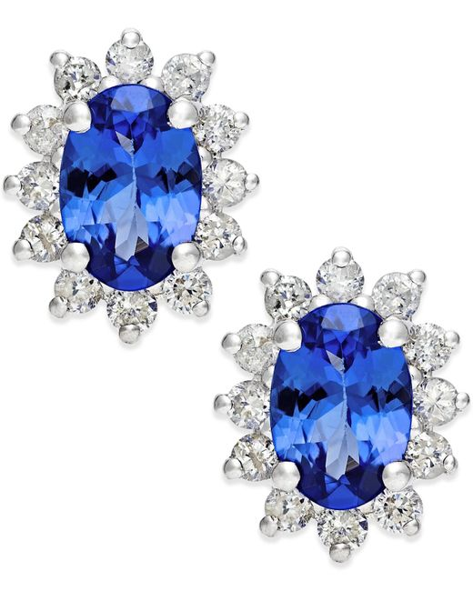 Macy's | Blue Tanzanite (7/8 Ct. T.w.) And Diamond (1/2 Ct. T.w.) Stud Earrings In 14k White Gold | Lyst