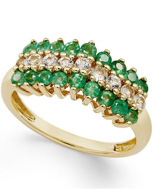 Macy's | Multicolor Emerald (5/8 Ct. T.w.) And White Sapphire (1/3 Ct. T.w.) Ring In 10k Gold | Lyst