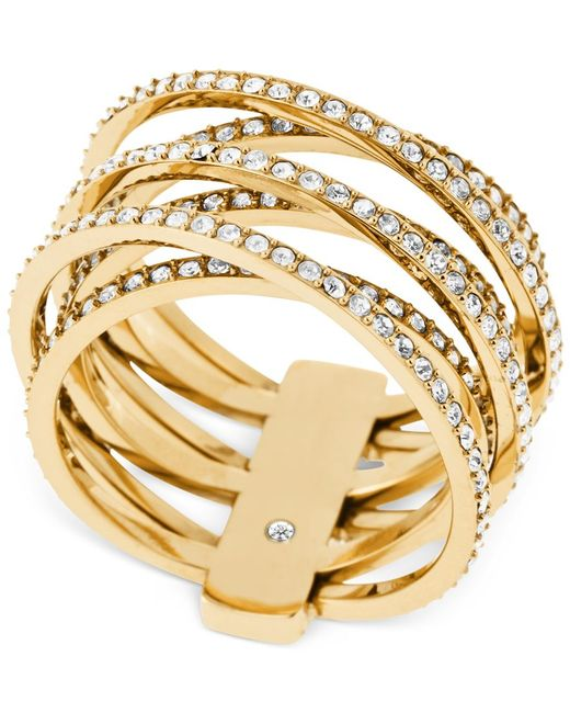 Michael Kors | Metallic Clear Stone Crisscross Ring | Lyst