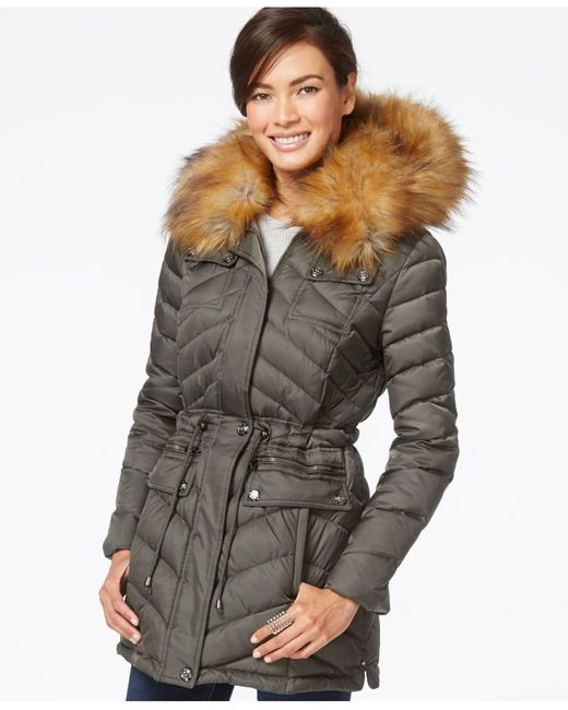 Laundry by Shelli Segal | Natural Faux-fur-collar Puffer Down Jacket | Lyst