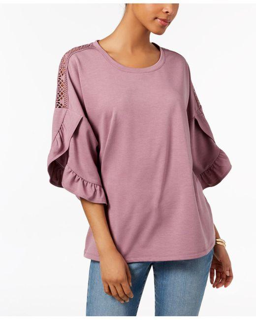 Style & Co. - Purple Ruffled Crochet-inset Top - Lyst