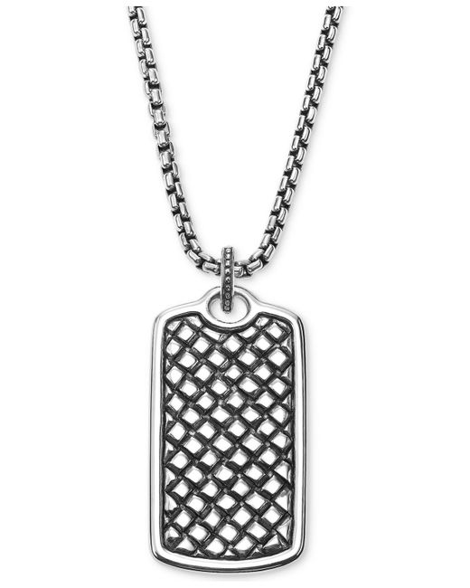 Scott Kay | Metallic Men's Textured Dog Tag Pendant Necklace In Sterling Silver for Men | Lyst