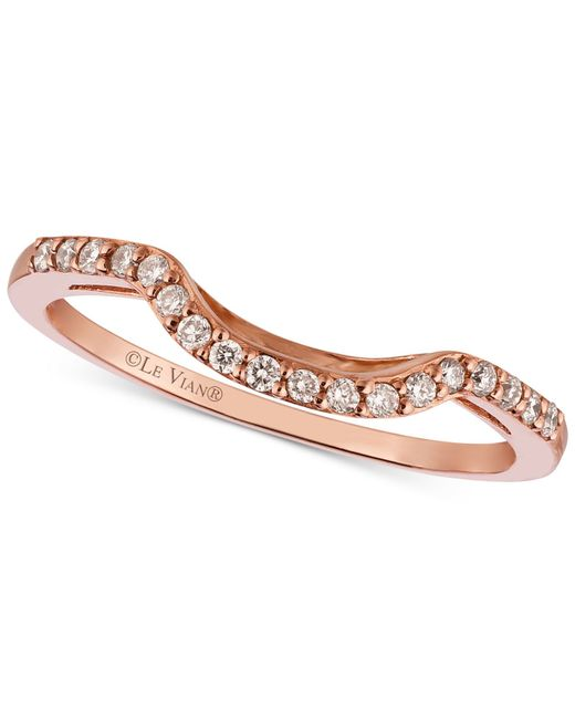 Le Vian   Metallic Diamond Curved Ring In 14k Rose Gold (1/6 Ct. T.w.)   Lyst