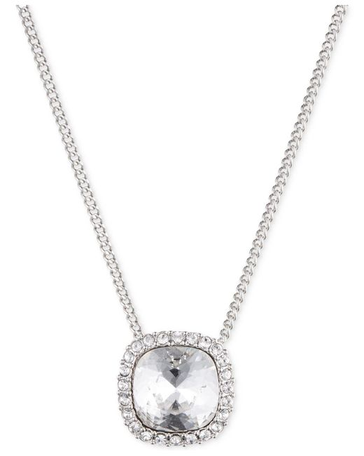 Givenchy | Metallic Silver-tone Crystal Pendant Necklace | Lyst