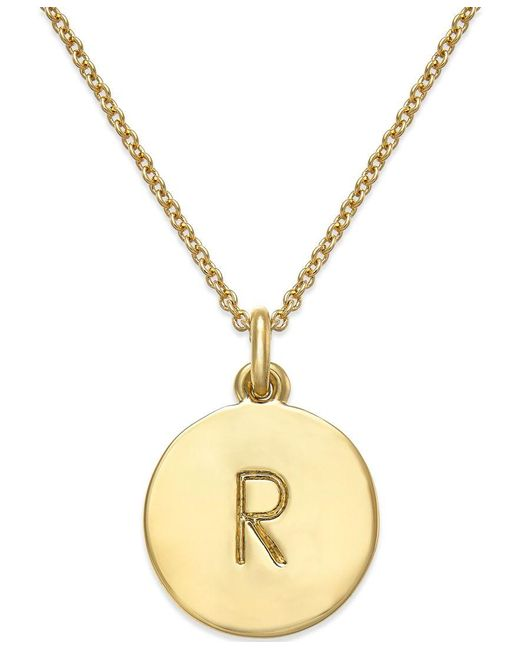 "Kate Spade | Metallic 17"" 12k Gold-plated Initials Pendant Necklace 