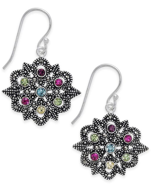 Macy's - Metallic Marcasite & Colored Crystal Openwork Drop Earrings In Silver-plate - Lyst