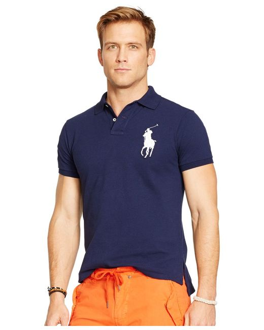Polo Ralph Lauren | Blue Custom-fit Big Pony Polo Shirt for Men | Lyst