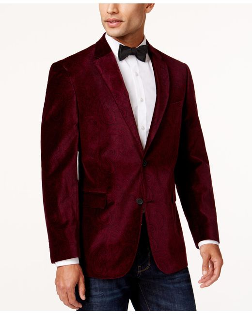 Tommy Hilfiger | Red Paisley Velvet Classic-fit Sport Coat for Men | Lyst