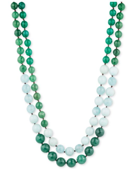 Lonna & Lilly | Gold-tone Green And White Beaded Layer Necklace | Lyst