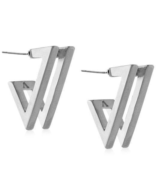 Vince Camuto | Metallic Silver-tone V-hoop Earrings | Lyst
