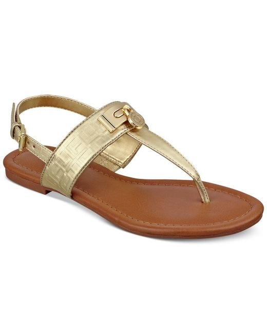 Tommy Hilfiger | Metallic Savor Flat Thong Sandals | Lyst