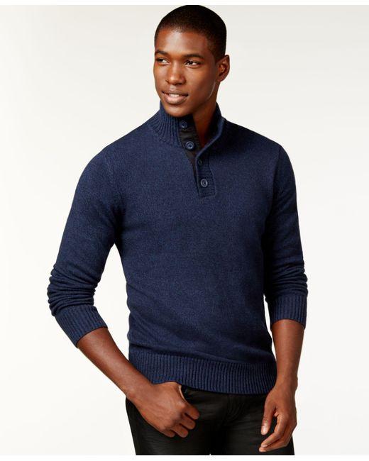 Sean John | Blue Twist-yarn Button-neck Sweater for Men | Lyst