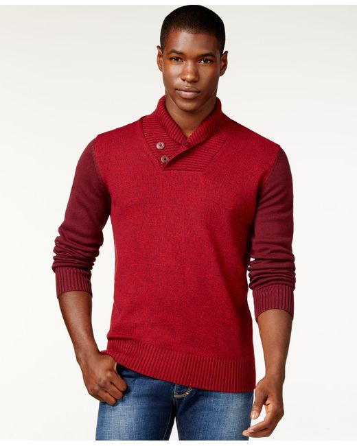 Sean John | Red Colorblocked Twist Shawl-collar Sweater for Men | Lyst