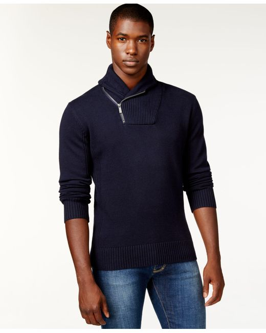 Sean John | Blue Men's Zip Shawl Collar Sweater for Men | Lyst