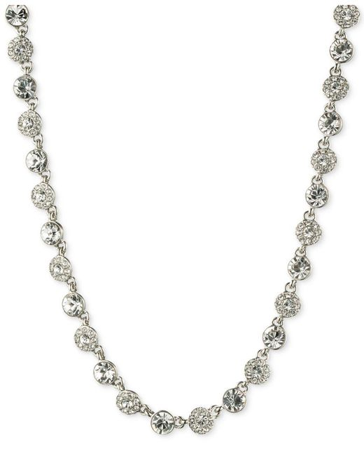 """Givenchy   Metallic 16"""" Silver-tone Crystal Necklace   Lyst"""