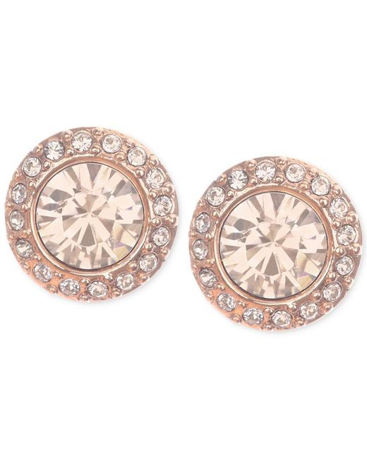 Givenchy | Pink Rose Gold-tone Pave Button Stud Earrings | Lyst