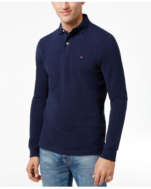 Tommy Hilfiger   Blue Long-sleeve Classic-fit Polo for Men   Lyst