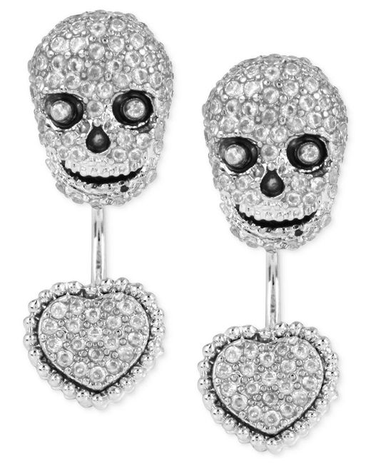 Betsey Johnson | Metallic Silver-tone Pave Skull And Heart Front-to-back Earrings | Lyst