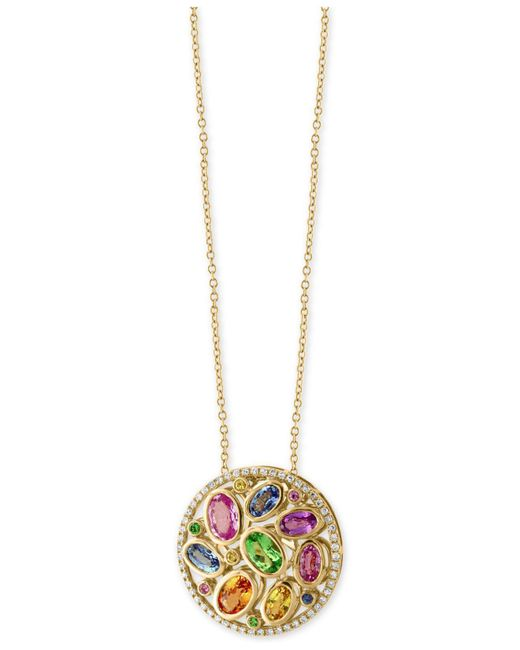 Effy Collection - Metallic Multi-gemstone (3-3/8 Ct. T.w.) And Diamond (1/5 Ct. T.w.) Pendant Necklace In 14k Gold - Lyst
