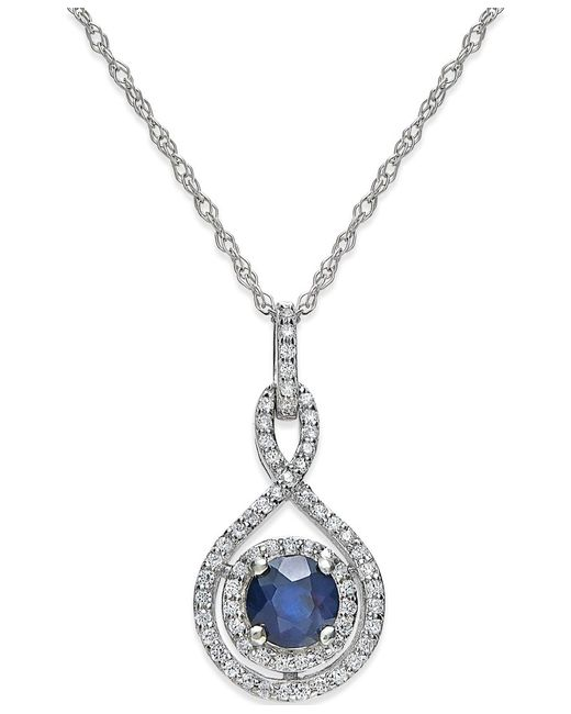 Macy's | Sapphire (1/2 Ct. T.w.) And Diamond (1/4 Ct. T.w.) Pendant Necklace In 14k White Gold (also In Emerald And Ruby) | Lyst