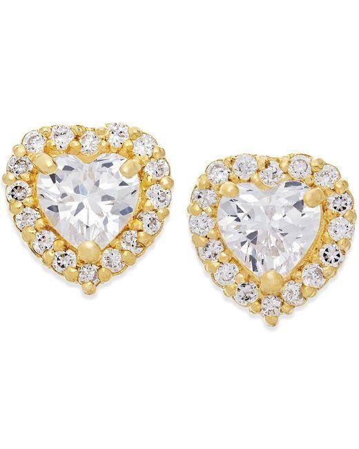 Macy's   Metallic Cubic Zirconia Heart Stud Earrings In 10k Gold   Lyst