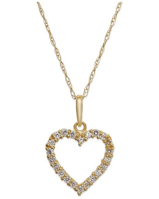 Macy's   Yellow Cubic Zirconia Heart Pendant Necklace In 10k Gold   Lyst